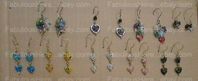 NEW Lot of 9 UNIQUE Millefiori HEARTS earrings Lovely /HOOKS (Handmade)