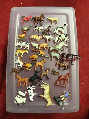 Lot of 36 Farm Animal Figures, Funrise, Japan, Cows, Pigs, Chickens, Farmer, Cat