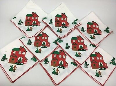 Set of 8 Christmas Cloth Napkins Victorian Dickens Eyelet Embroidered VTG 80s