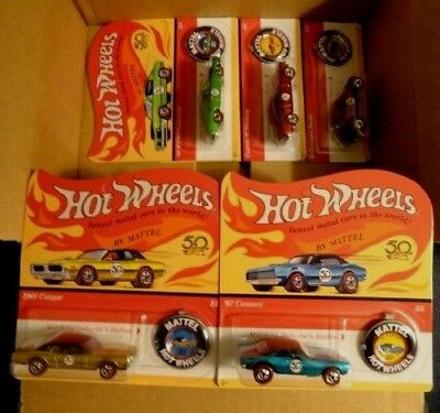 2018 Hot Wheels 50th Anniversary Redline Set of 5-Unpunched Excellent