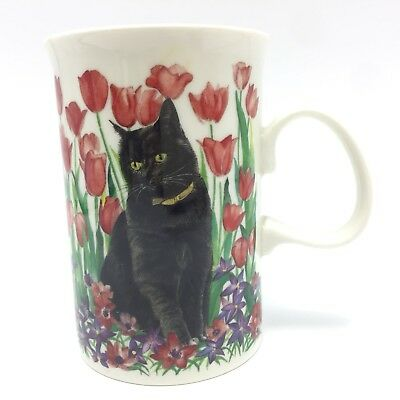 Dunoon Cat Coffee Mug Black Cats Kittens Red Tulips Scotland