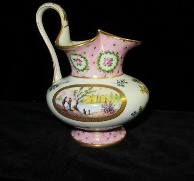 Sevres or Sevres Style Porcelain Cream Pitcher Jug Date Mark 1870 Hand Painted