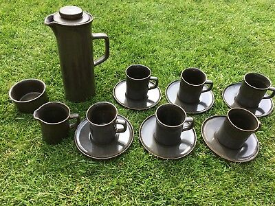 Vintage Retro 1960s 1970s Coffee Tea Set 6 Cups Saucers Dinner Party