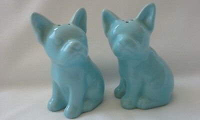 TARGET Stoneware French Bulldog Frenchie Aqua Salt and Pepper Shaker Set