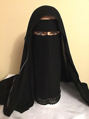 Saudi two Layer Niqab Burqa Islamic Face Cover Veil Burka Muslim USA Seller Casb