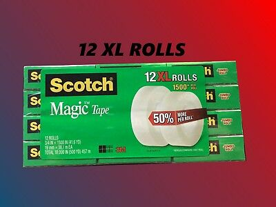 12XL Rolls, Scotch Magic Tape (3/4 in X 1500 in) Jumbo Rolls [[12 ROLL]] EXTRA!