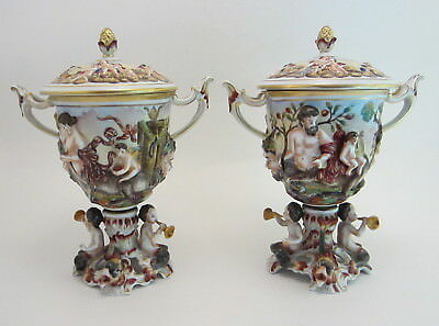 Pair of Antique Capo di Monte Covered Urns