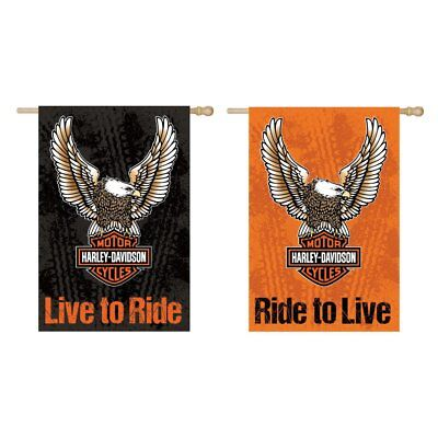 Harley Davidson Live To Ride Bar, Shield & Wings Double Sided Suede House Flag