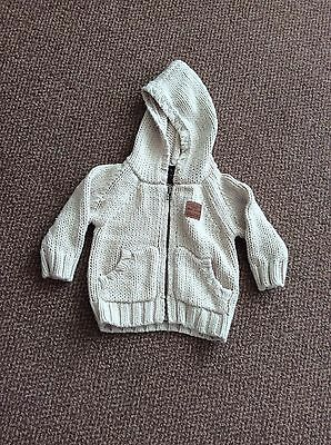 Boys Next knitted beige cardigan age 3-6 months
