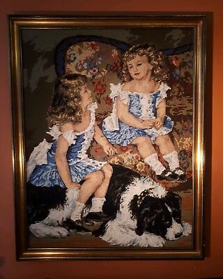 "Beautiful and Large Vintage Framed Tapestry. ""Two Girls & a dog"" by Renoir. VGC."