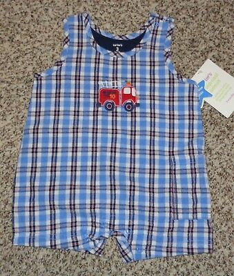 db9ea350361 Carters Baby Boys Red White Blue Plaid Romper Fire Truck Size 3 Months NEW