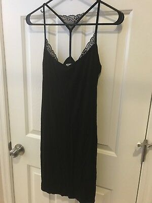 d6017ddd63d Charlotte Russe Black Ribbed Strappy Short Mini Dress With Lace Detail Small