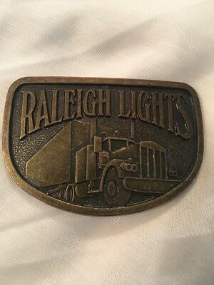 Raleigh Lights Cigarettes Tobacco Semi Truck Trucking 1970's Vintage Belt Buckle