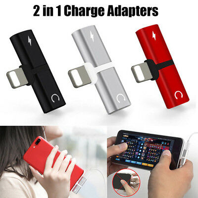 iPhone X 7 8 Plus Dual 2in1 Headphone Audio & Charger Adapter Splitter