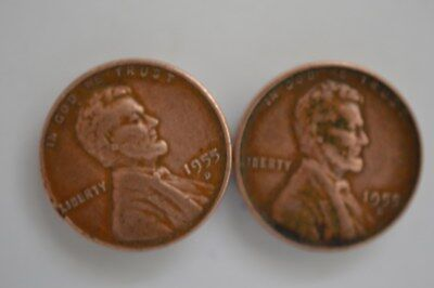 2 Of 1955 Usa 1 Cent