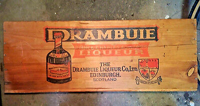 Vintage Large Wooden Crate Scotland Drambuie Liqueur wood liquor box NY Importer