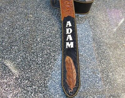 Custom Padded Leather Guitar Strap Personalized With Your Name.