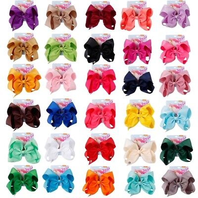 "8"" JoJo Solid Hair Bows With Clips For Kids Girls Grosgrain Ribbon Hair Clips"