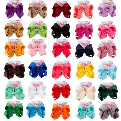 """8"""" Solid Grosgrain Ribbon Hair Bows With Clips For Kids Girls Party Hairgrips"""