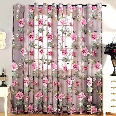Kitchen Window Treatments Peony Flowers Tulle Sheer Curtains Beige Purple