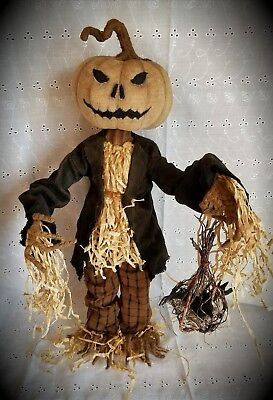 OOAK Signed Folk Art Primitive Halloween Fall Creepy Pumpkin Head Scarecrow Doll