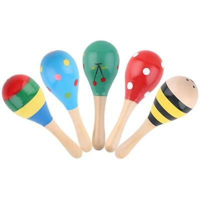5 X Colorful Wooden Maraca Wood Rattle Musical Party Baby Shaker Kids Child Toys