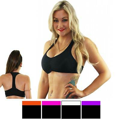 Double Lined T Bar Sports Bra, Pole & Dance Crop Tops with Contrasting Trim