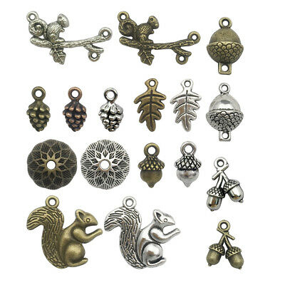 100g Mixed Happy Squirrel Charms Collection Acorns Pine Cone Bead Caps Pendants