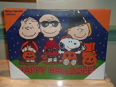 Charlie Brown & Friends Happy Halloween Btry Operated LED Canvas Decor ~ NEW!