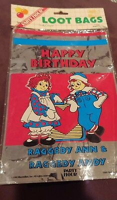 Vintage Raggedy Ann And Andy Loot Bags 1 pack (6 bags)
