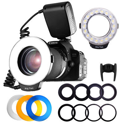 RF600D Macro 18LED Ring Flash Lights Speedlite For Canon Nikon Pentax Camera