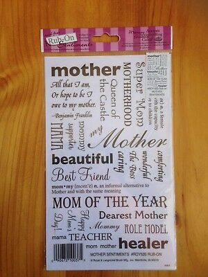 New - Rub-On Sentiments By Royal & Langnickel - Mother Sentiments - Scrapbooking