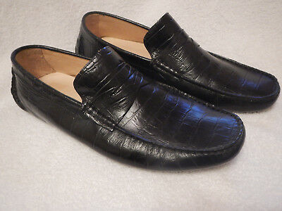 48076adf309 Saks Fifth Avenue Mens Black Crocodile Embossed Loafers Driving Mocs Size  11.5