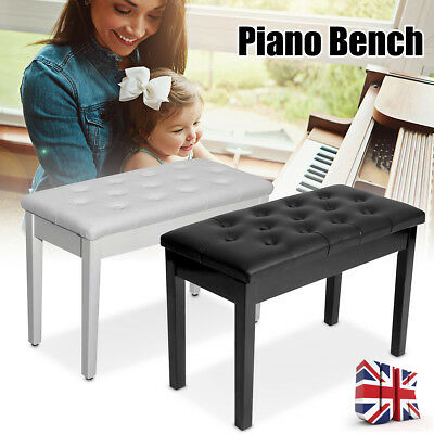 Double Person Leather Piano Wood Bench Duet Storage Keyboard Stool Padded Seat