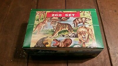 Vintage Educational Plastic Zoo Set Toy Animals Hong Kong 1970's NOS 144 Pieces