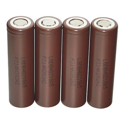 INR18650 LG HG2 Rechargeable High Drain Li-ion Battery 3000mAh Flat Top Vape 4pc