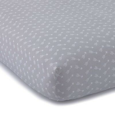 NEW/NWT Levtex Baby Crib Fitted Sheet 100% Cotton Grey Arrow Boy Girl