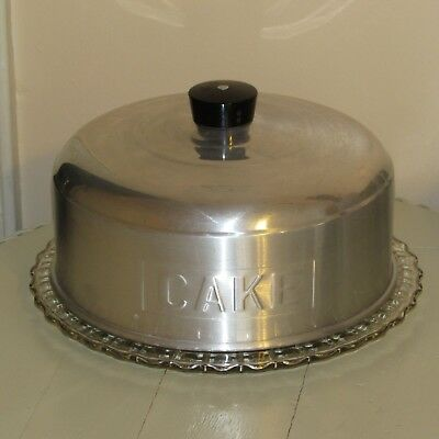 Vtg Round Aluminum CAKE Cover With Black Knob & Footed Glass Plate Very Nice!