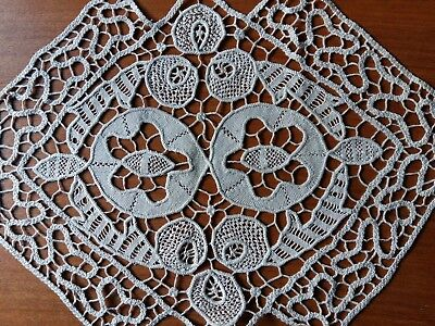 "ANTIQUE Handmade Italian Needle Lace Tablecloth Runner Ecru Rhomboid 16""x24"""