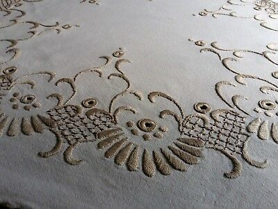 ANTIQUE Hand Embroidery Linen Round Tablecloth Ivory Edging with Metallic thread