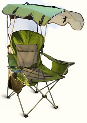 Camp Beach Camping Folding Chair With Canopy Umbrella Outdoor Fishing Portable
