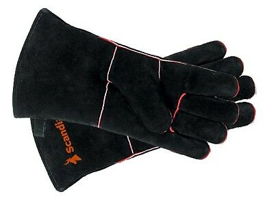 Scandia FIREPLACE GLOVES 1Pair One Size Fits All, Heavy Duty Leather BLACK