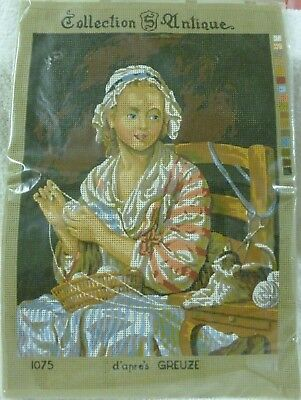 "Vtg Collection S Antique ""Maid Knitting"" d'apres Greuze -Tapestry yarn included"