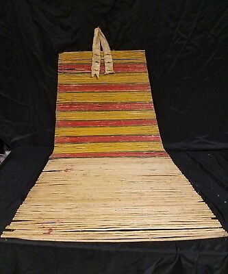 19th C Cheyenne Painted Beaded Polychrome Willow Backrest Teepee Native American