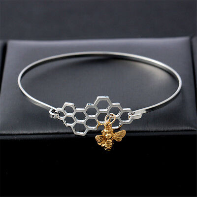 Fashion Women Simple Honeycomb Bee Bracelet Charm Silver Bracelet Jewelry Gift