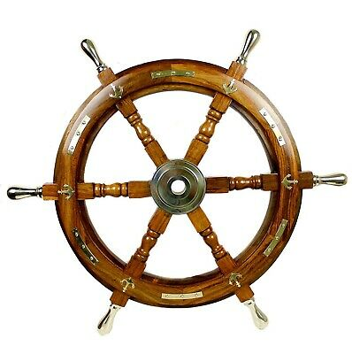 """24"""" Boat Ship Wooden Steering Wheel Brass Centre Antique Nautical Wall Decor"""