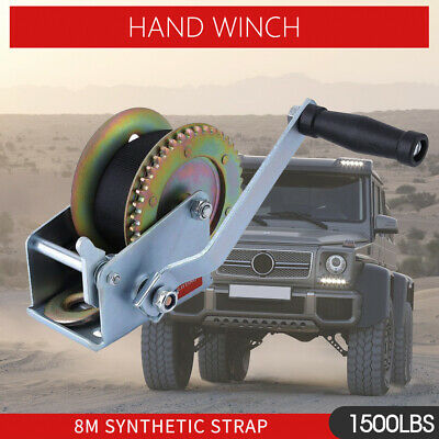 Hand Winch 1500lbs/680Kg 2-Gears 8m Synthetic Cable Boat Trailer 4WD Heavy Duty