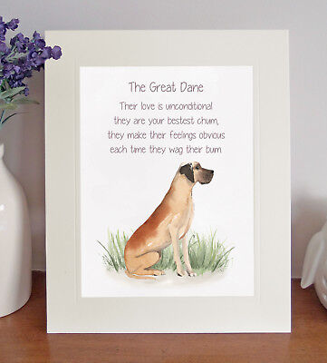 Great Dane BESTEST CHUM Novelty Dog Poem 8 x 10 Picture/10x8 Print Fun Gift