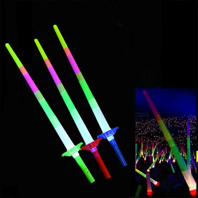 1Pc Retractable Led Light Flashing Glow Stick Wand Concert Party Favor Toy Faddi