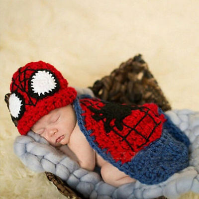 Cute Baby Boy Girl Crochet Beanie Knit Costume Outfit Set Hat Photography Props